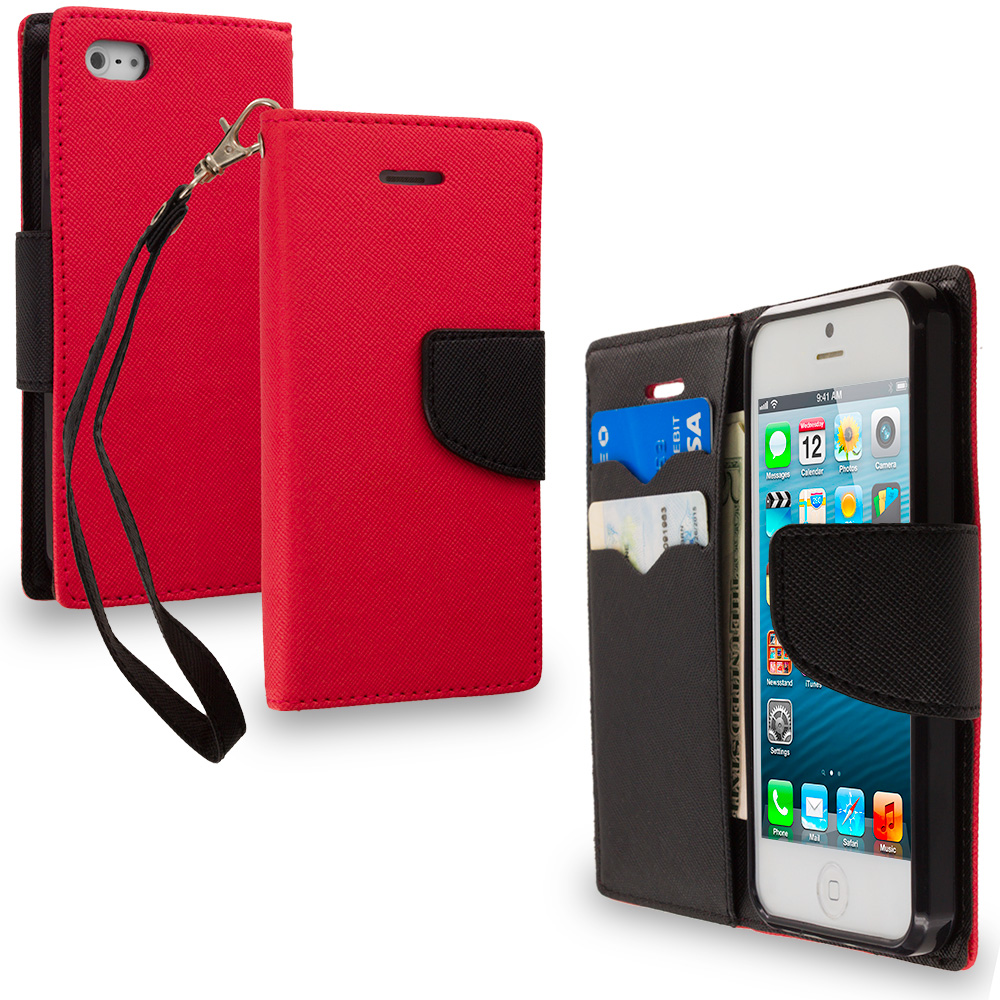Apple iPhone 5/5S/SE Combo Pack : Hot Pink / Black Leather Flip Wallet Pouch TPU Case Cover with ID Card Slots : Color Red / Black