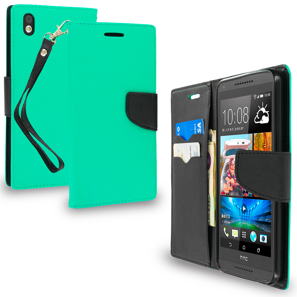 HTC Desire 816 Mint Green / Black Leather Flip Wallet Pouch TPU Case Cover with ID Card Slots