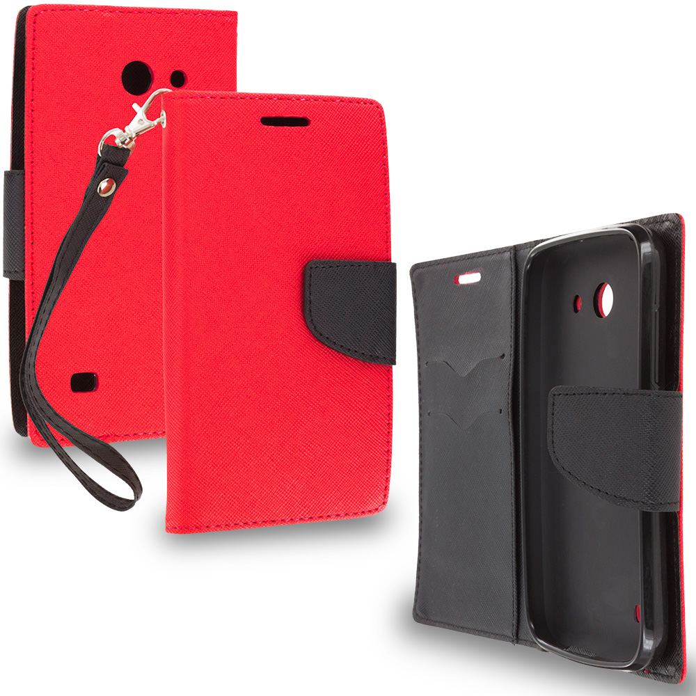 Huawei Tribute Fusion 3 Y536A1 Red / Black Leather Flip Wallet Pouch TPU Case Cover with ID Card Slots