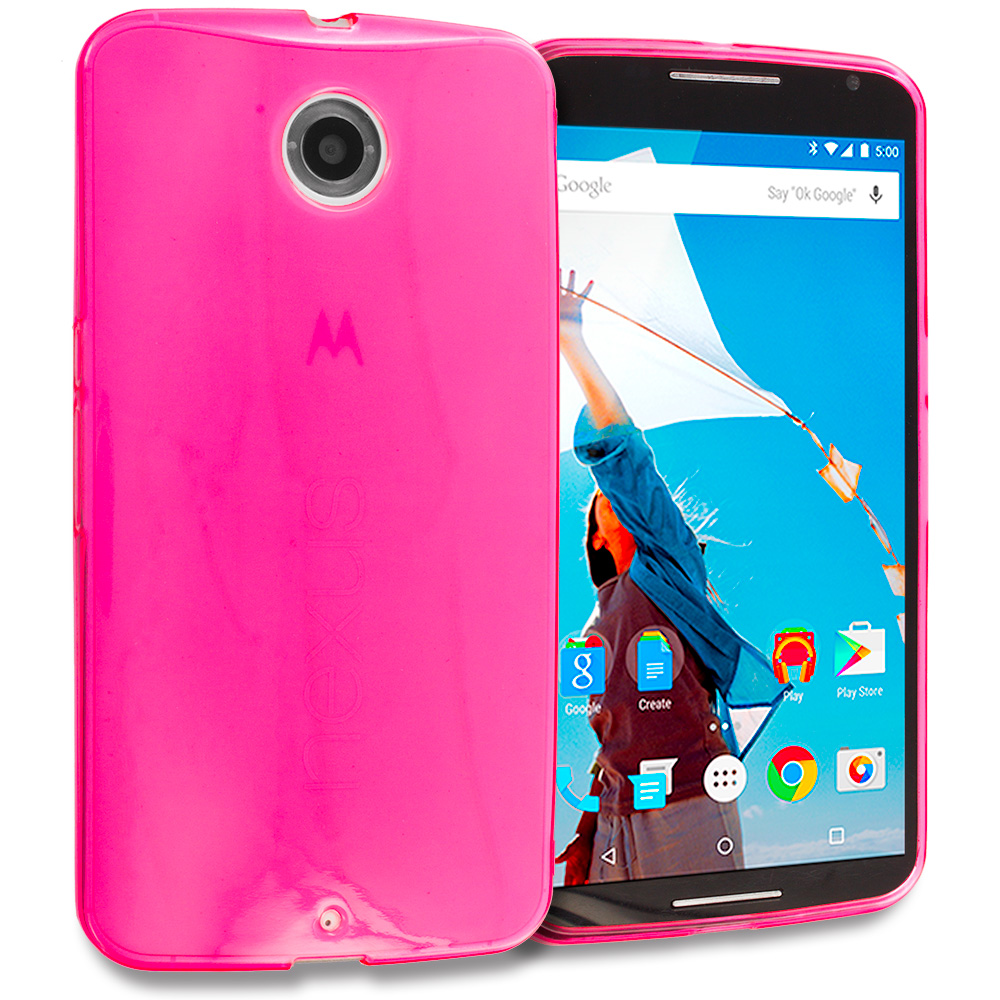 Motorola Google Nexus 6 Hot Pink TPU Rubber Skin Case Cover