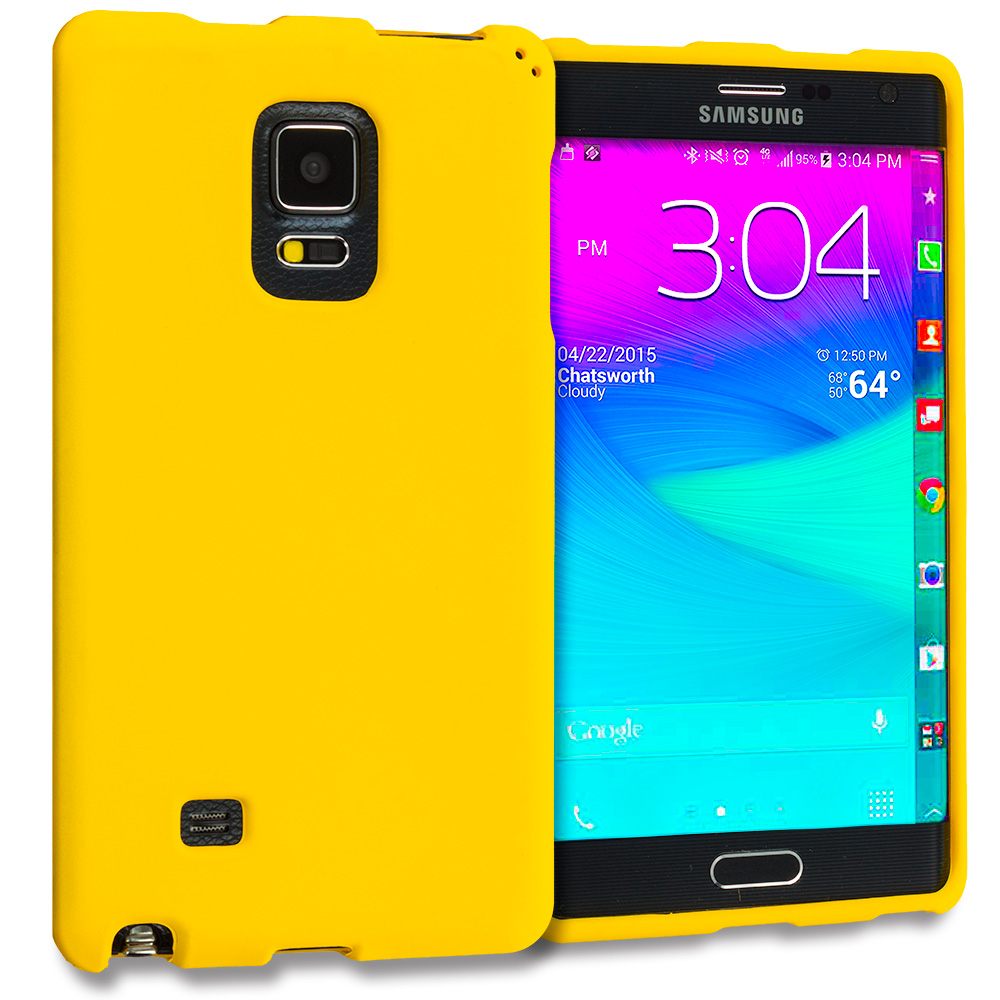 Samsung Galaxy Note Edge Yellow Hard Rubberized Case Cover