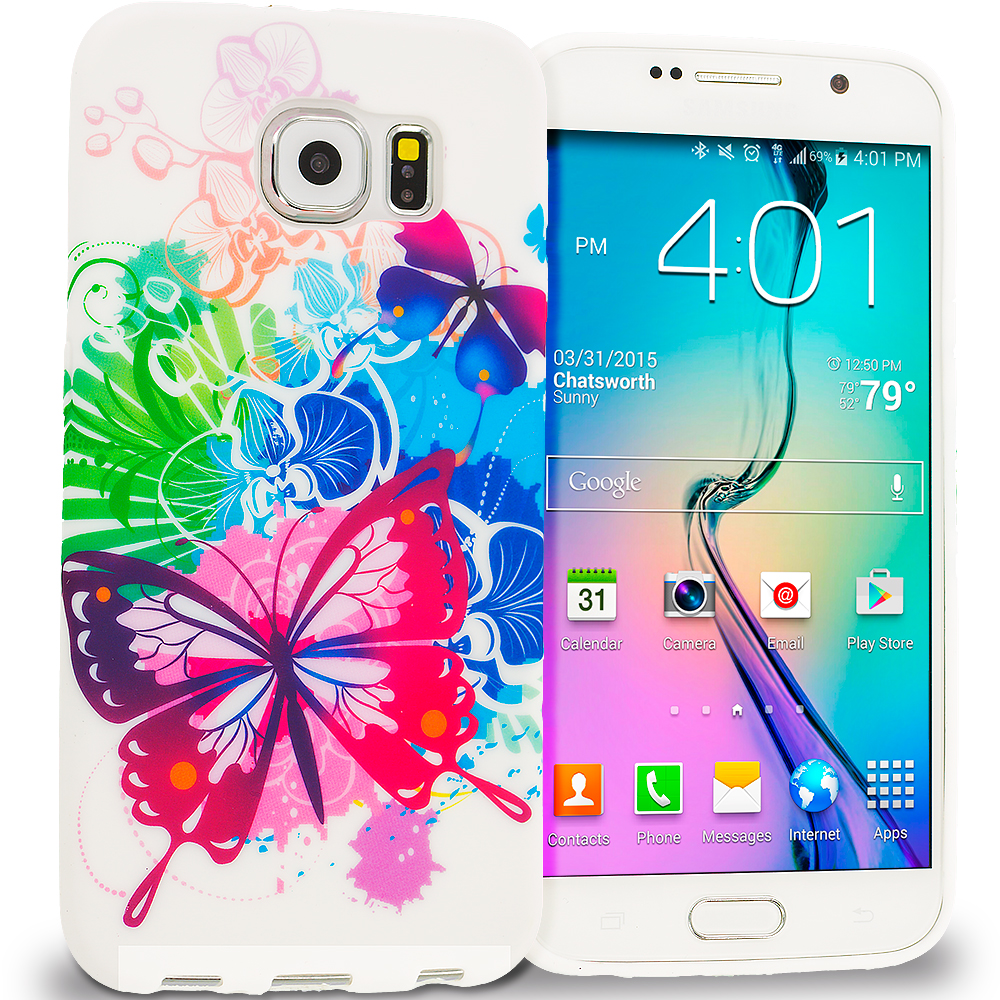 Samsung Galaxy S6 Butterfly Colorful TPU Design Soft Rubber Case Cover