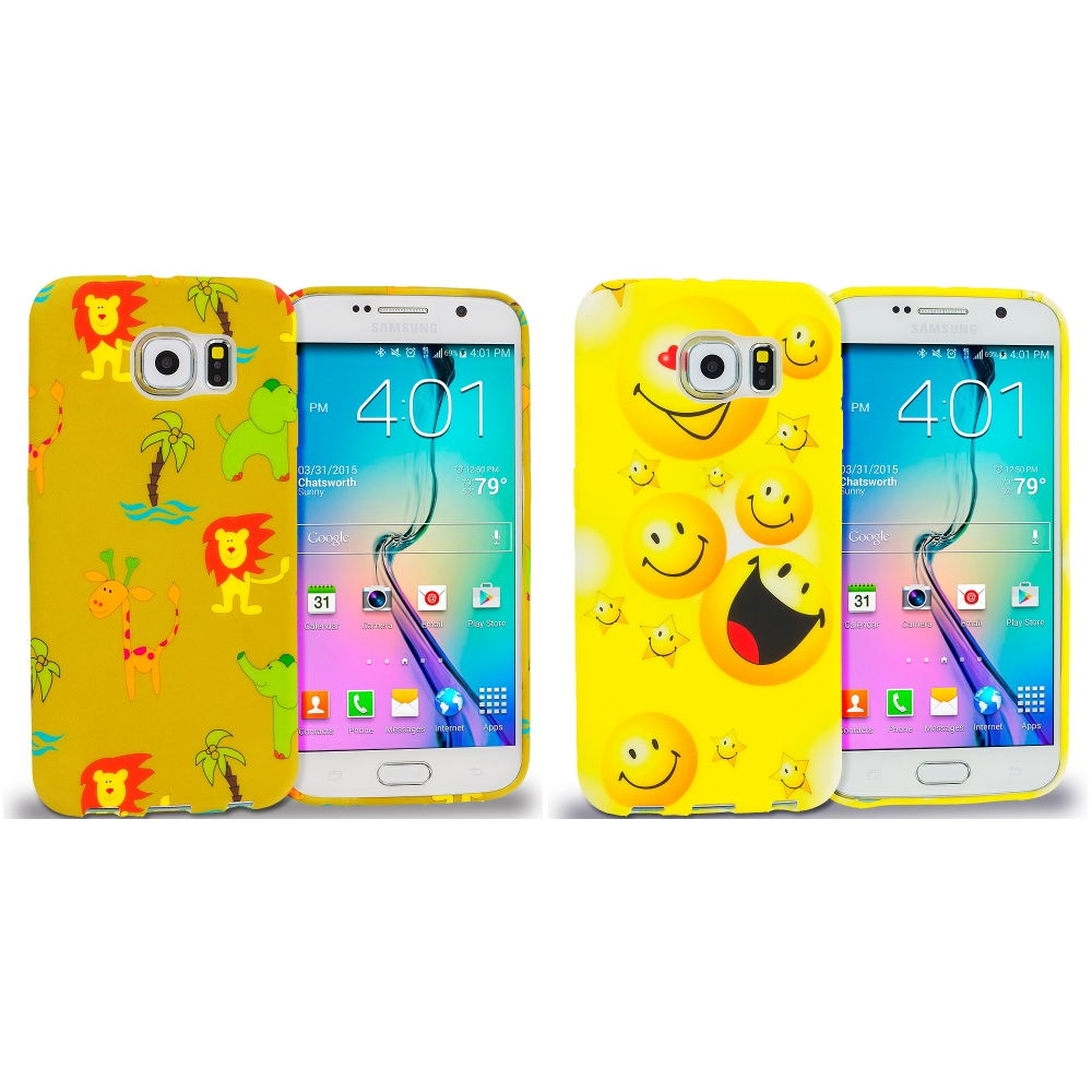 Samsung Galaxy S6 Combo Pack : Zoo TPU Design Soft Rubber Case Cover