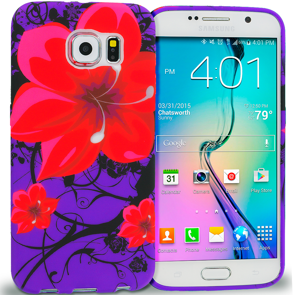 Samsung Galaxy S6 Red Rose Purple TPU Design Soft Rubber Case Cover