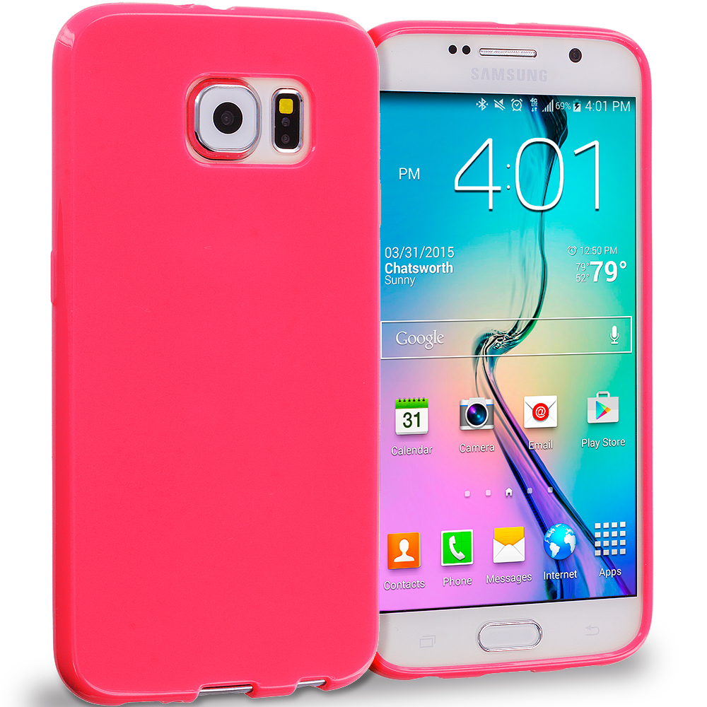 Samsung Galaxy S6 Light Pink Solid TPU Rubber Skin Case Cover