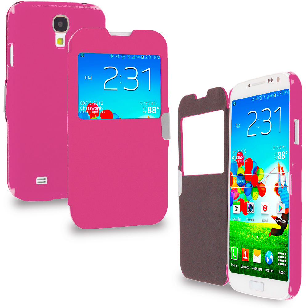 Samsung Galaxy S4 Hot Pink S-View Magnetic Flip Wallet Case Cover Pouch