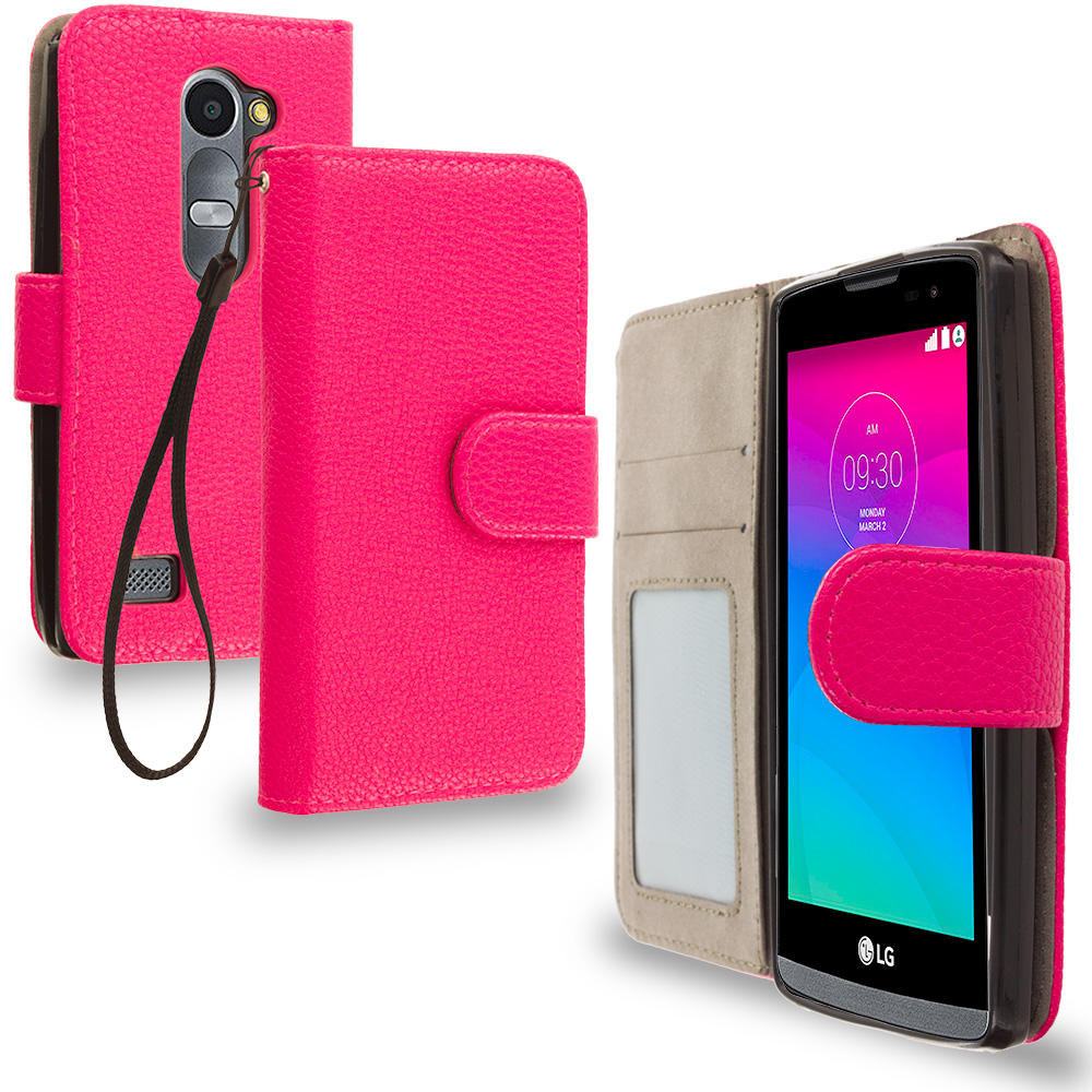 LG Tribute 2 Leon Power Destiny Hot Pink Leather Wallet Pouch Case Cover with Slots