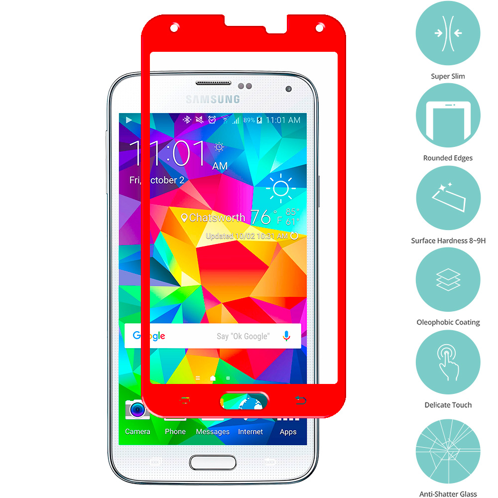 Samsung Galaxy S5 Red Tempered Glass Film Screen Protector Colored