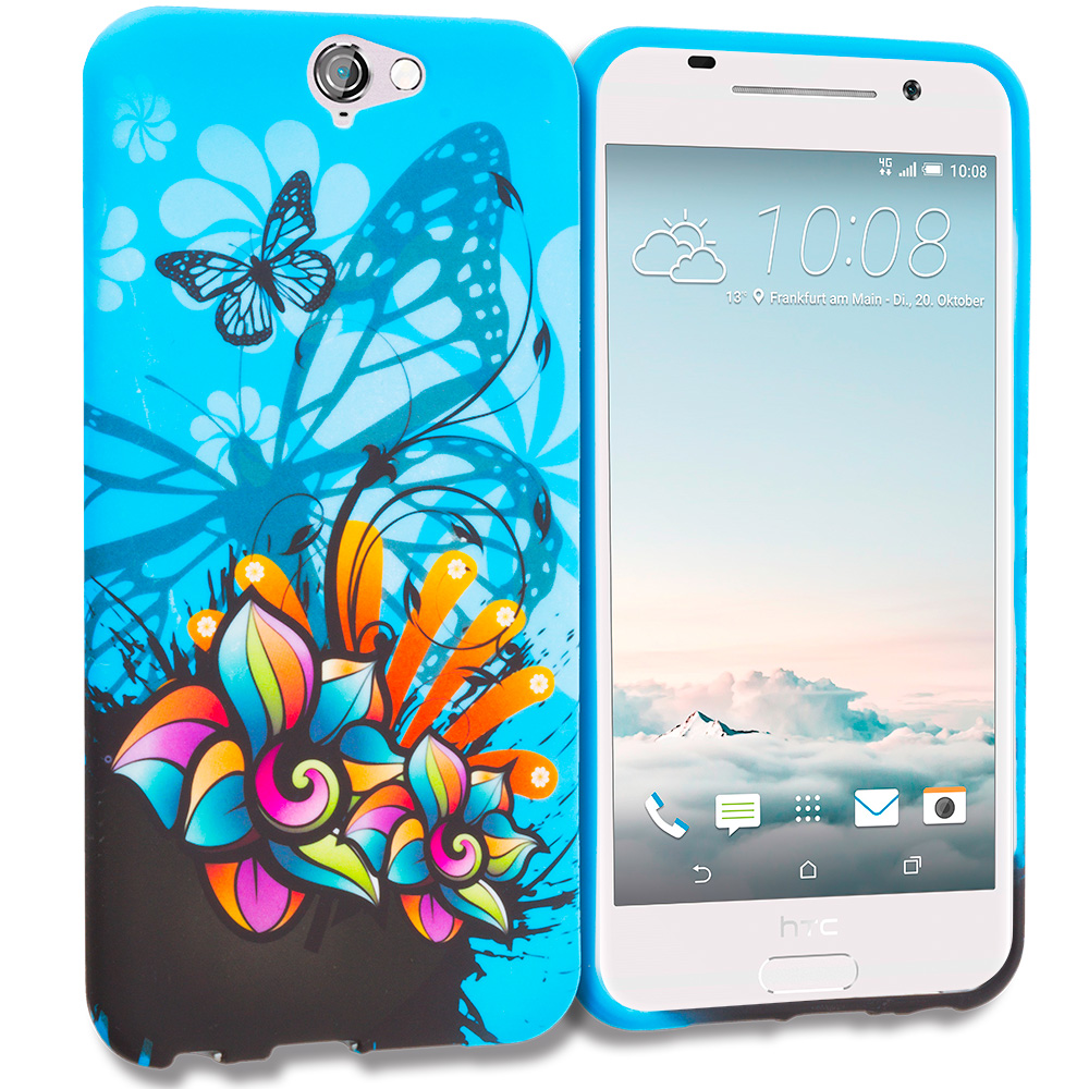 HTC Aero One A9 Blue Butterfly Flower TPU Design Soft Rubber Case Cover