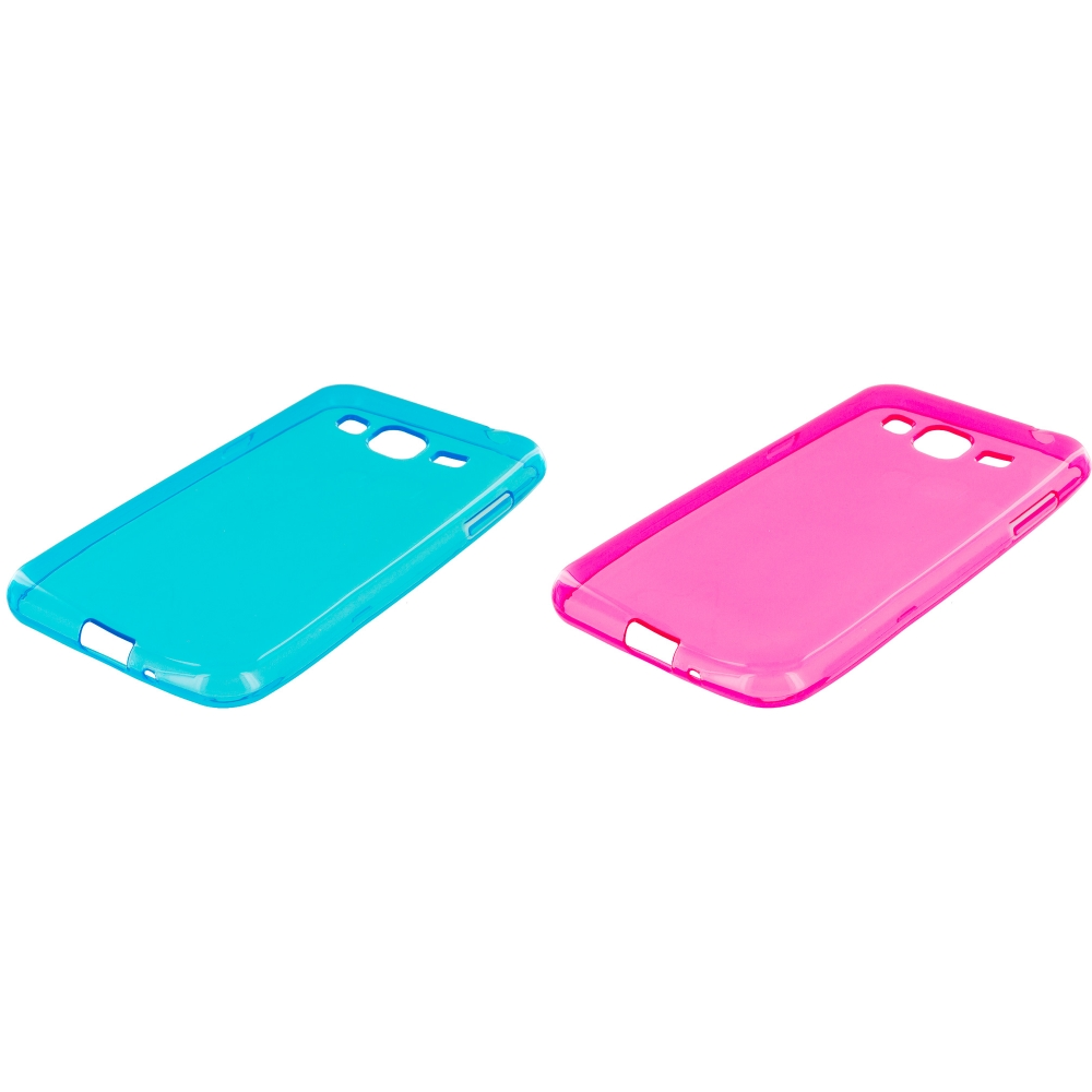 Samsung Galaxy J3 Combo Pack : Baby Blue TPU Rubber Skin Case Cover
