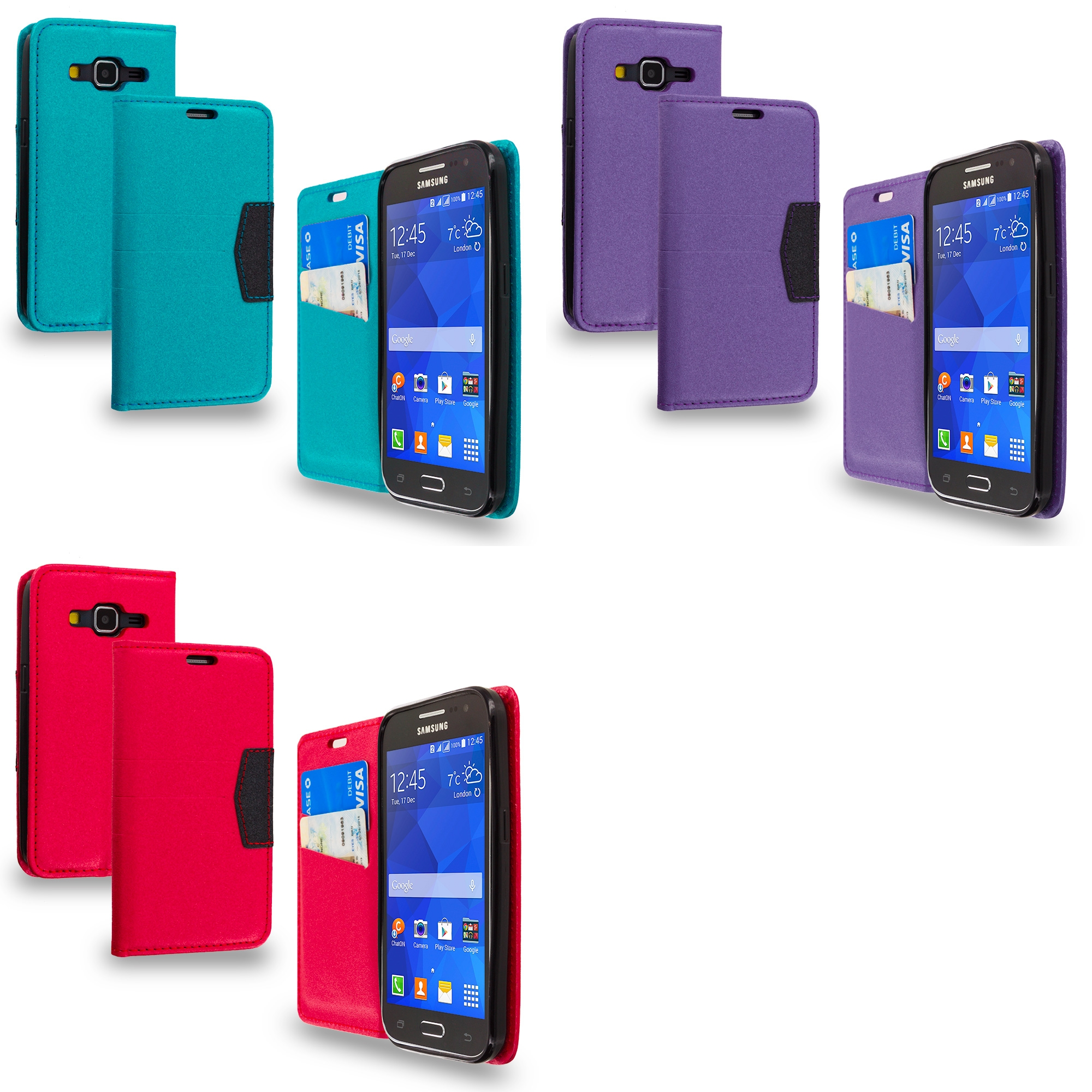 Samsung Galaxy Prevail LTE Core Prime G360P Combo Pack : Baby Blue Wallet Flip Leather Pouch Case Cover with ID Card Slots