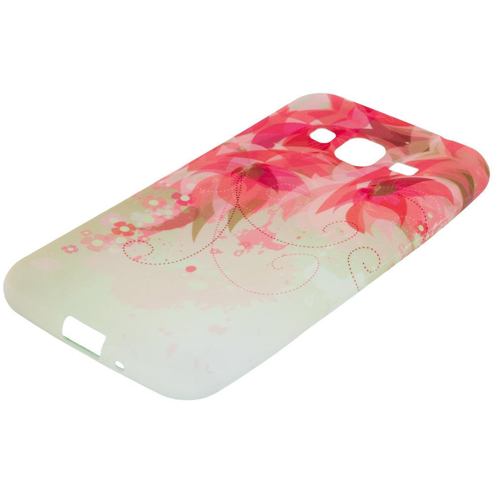 Samsung Galaxy J3 2016 Amp Prime Express Prime Flower With Red Leaf TPU Design Soft Rubber Case Cover