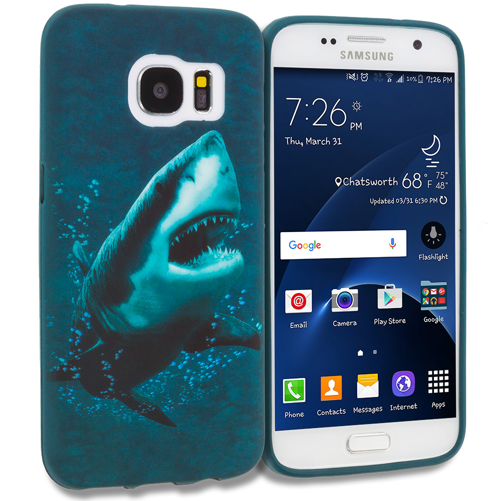 Samsung Galaxy S7 Combo Pack : Shark TPU Design Soft Rubber Case Cover : Color Shark