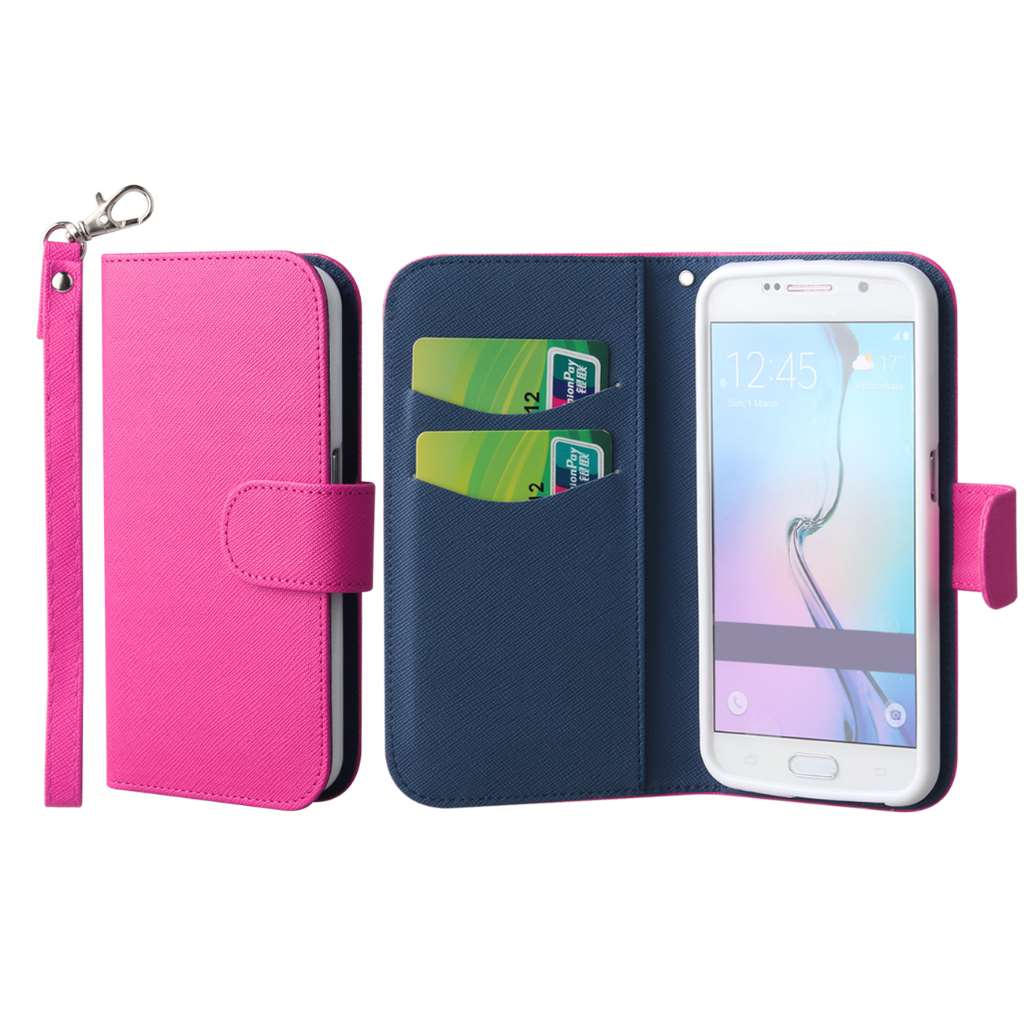 Samsung Galaxy S6 - Hot Pink MPERO FLEX FLIP Wallet Case Cover