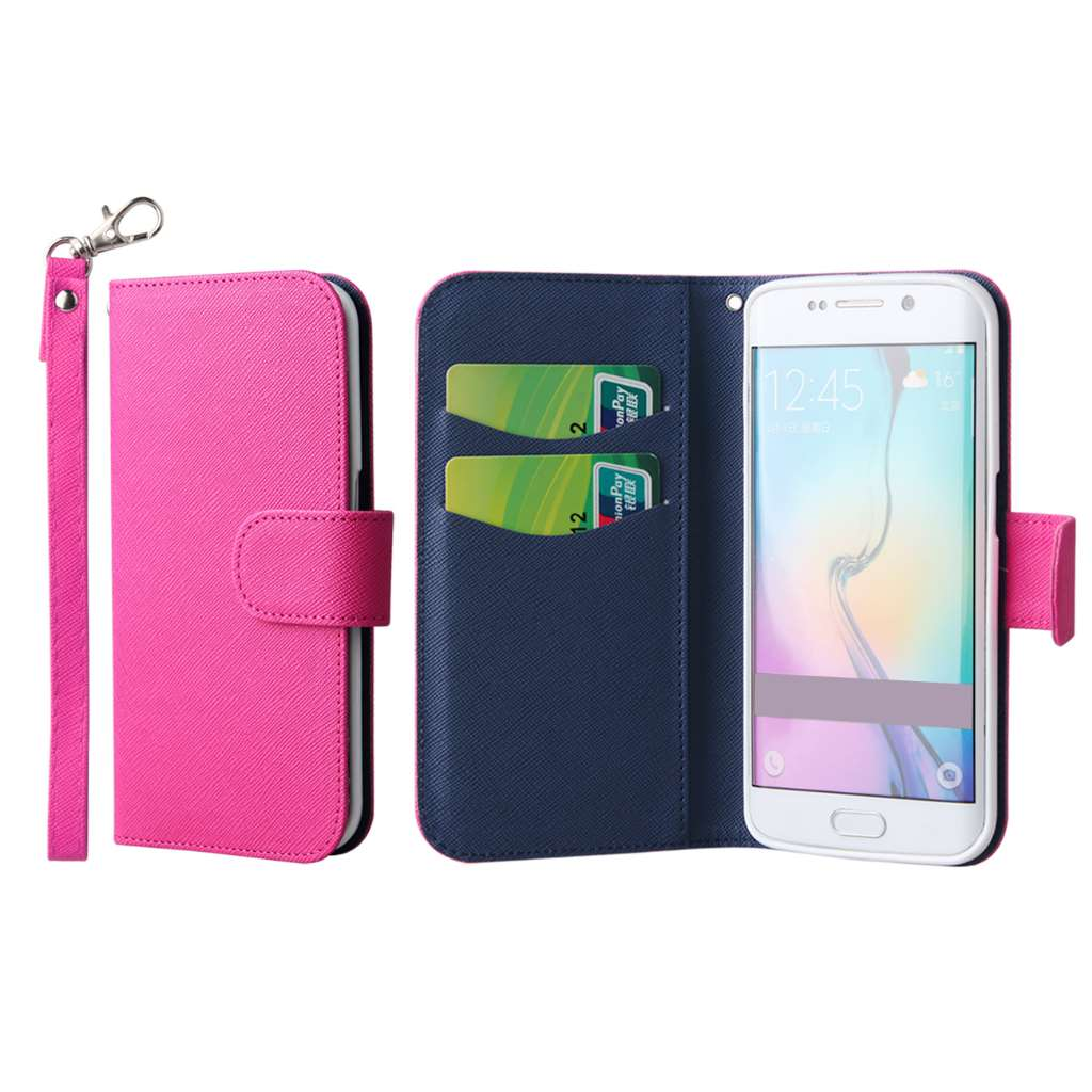 Samsung Galaxy S6 Edge - Hot Pink MPERO FLEX FLIP Wallet Case Cover