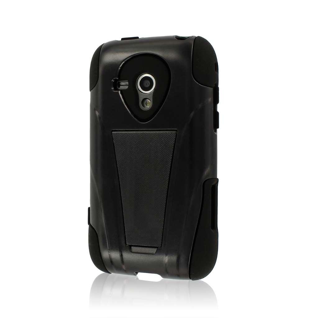 Samsung Galaxy Rush M830 - Black MPERO IMPACT X - Kickstand Case Cover