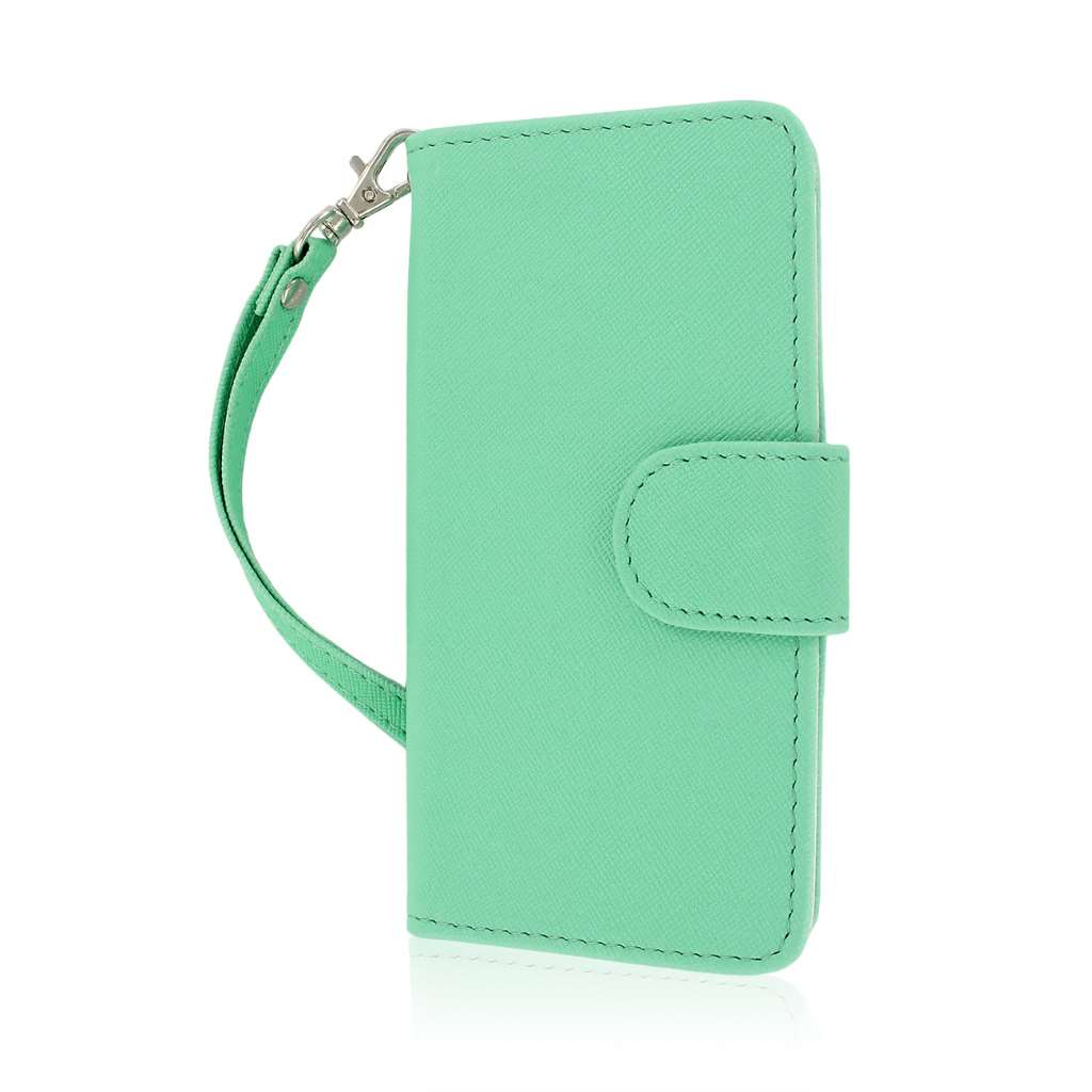 HTC One Mini - Mint-White MPERO FLEX FLIP Wallet Case Cover