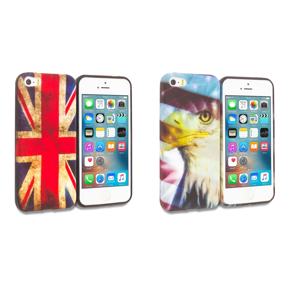 Apple iPhone 5/5S/SE Combo Pack : The Union Flag TPU Design Soft Rubber Case Cover