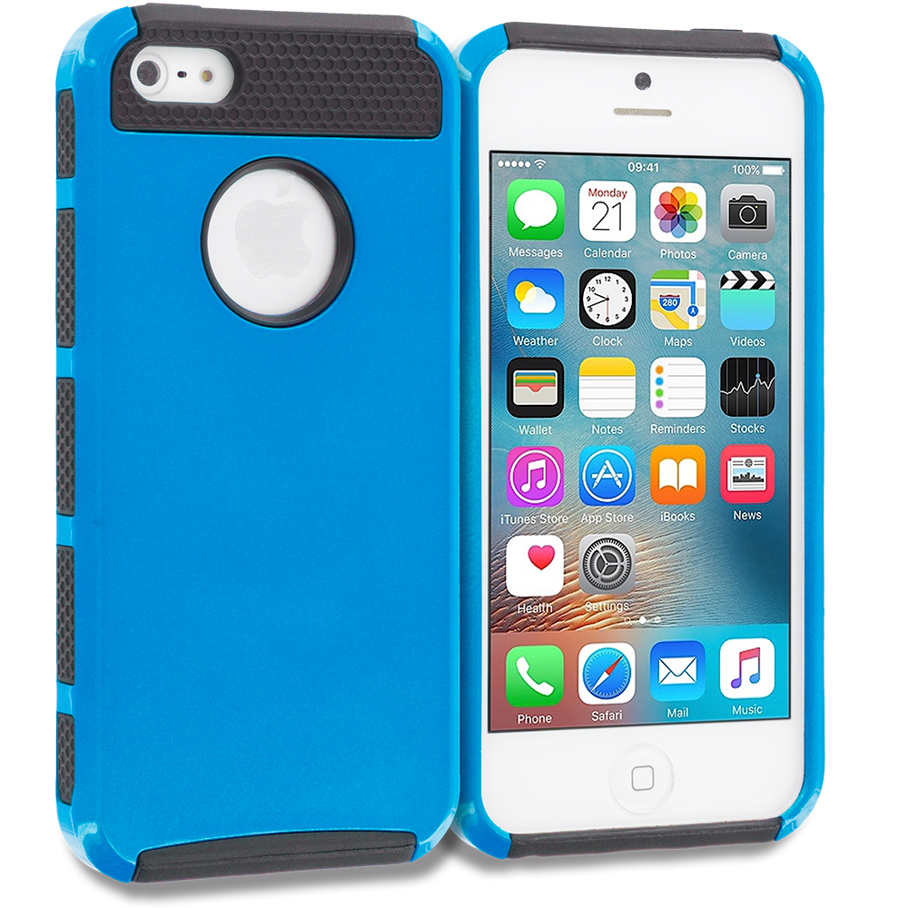 Apple iPhone 5/5S/SE Combo Pack : Red / Black Hybrid Hard TPU Honeycomb Rugged Case Cover : Color Blue / Black
