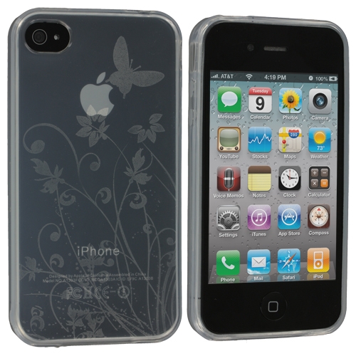 Apple iPhone 4 / 4S Clear Butterfly TPU Rubber Skin Case Cover