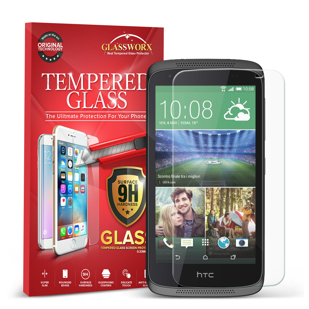 HTC Desire 526 GlassWorX HD Clear Tempered Glass Screen Protector