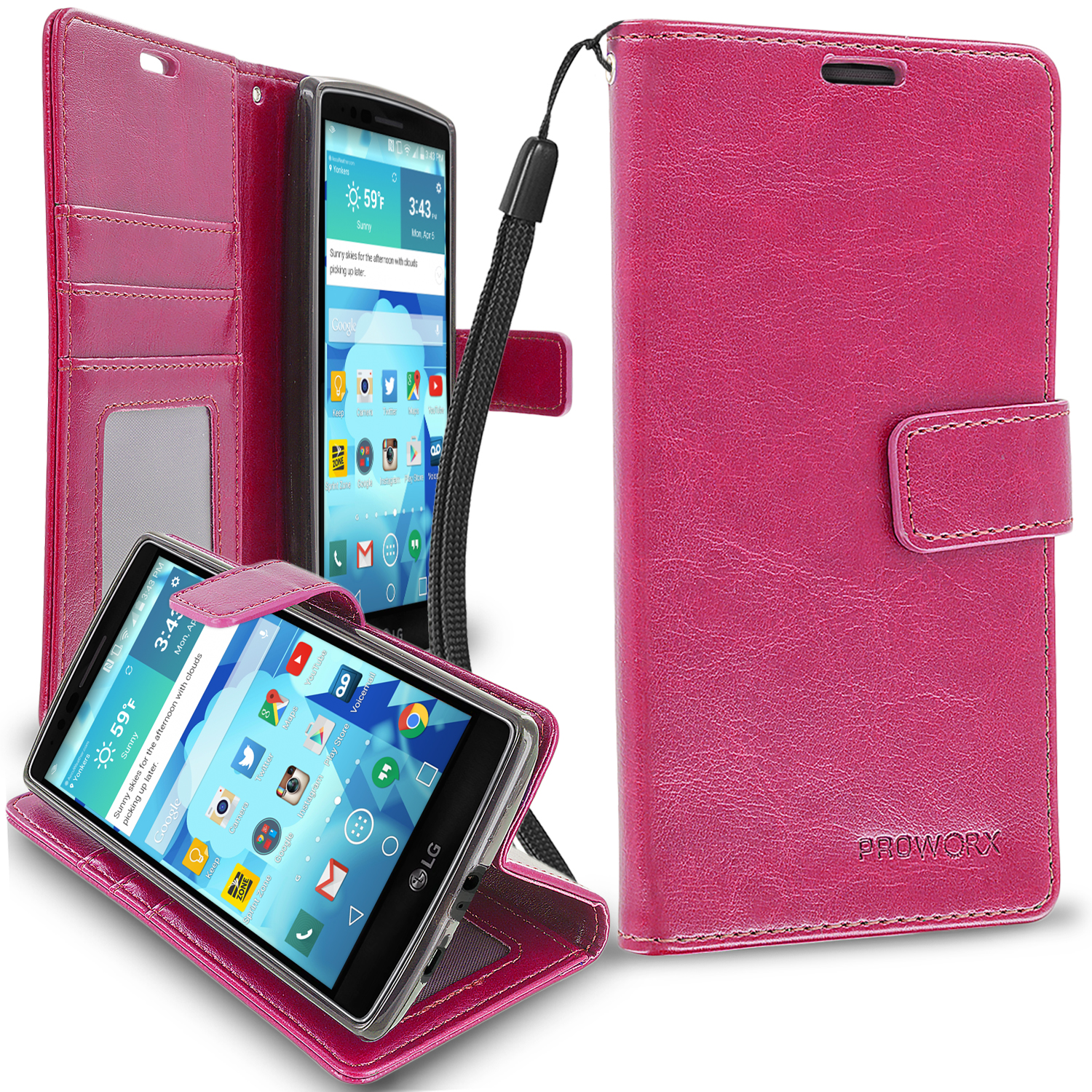 LG G Flex 2 Hot Pink ProWorx Wallet Case Luxury PU Leather Case Cover With Card Slots & Stand