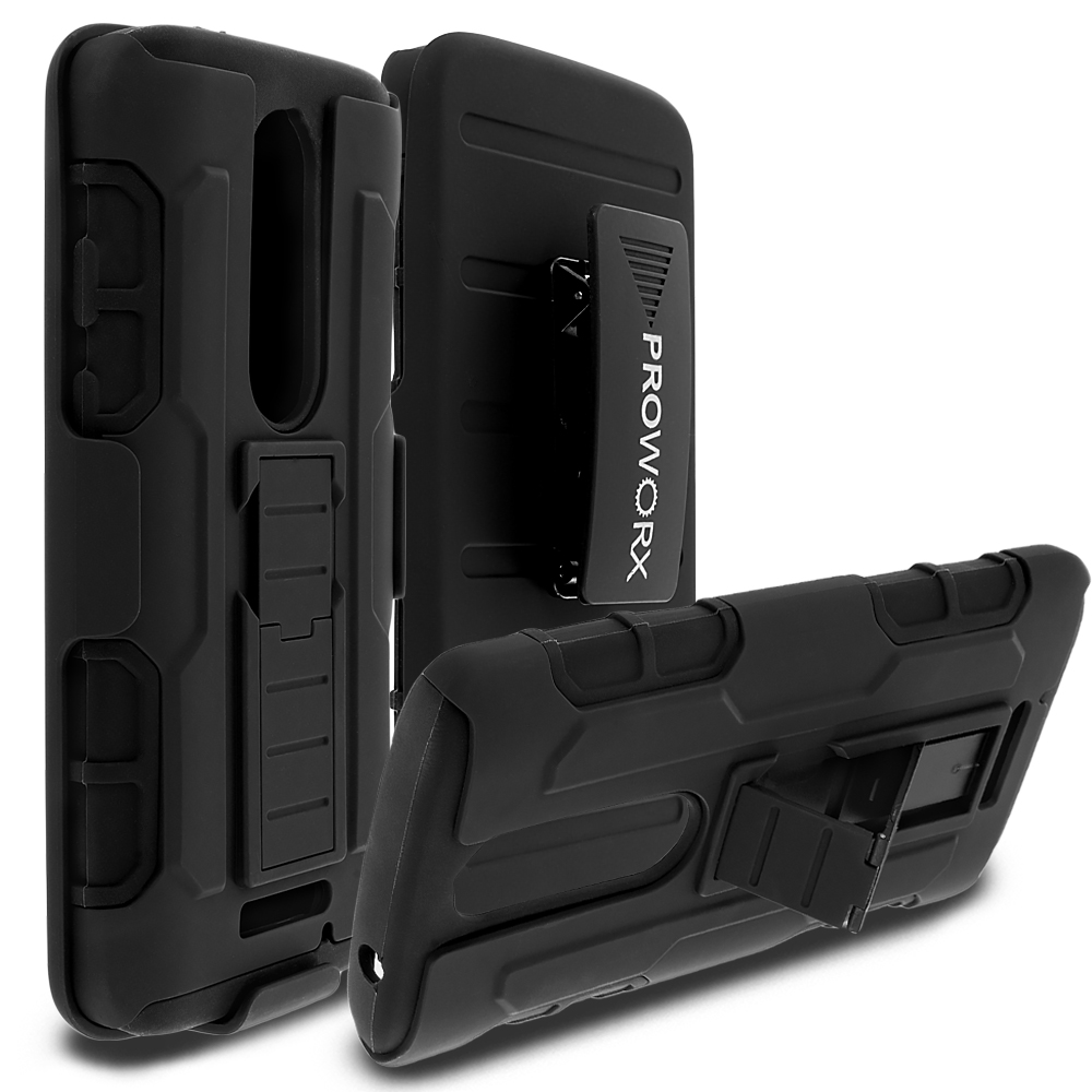 Motorola Droid Turbo 2 Black ProWorx Heavy Duty Shock Absorption Armor Defender Holster Case Cover With Belt Clip