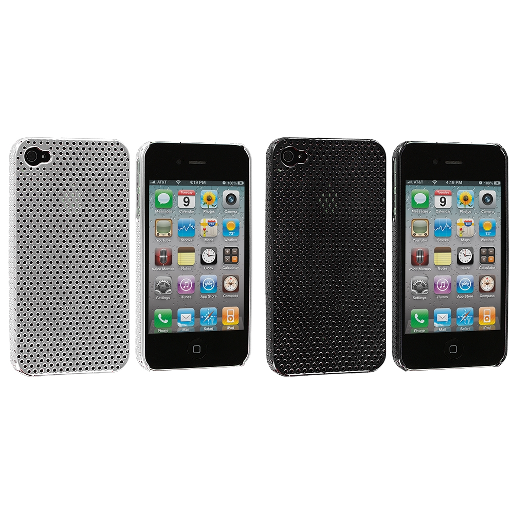 Apple iPhone 4 / 4S 2 in 1 Combo Bundle Pack - Silver Black Electroplated Mesh Case Cover