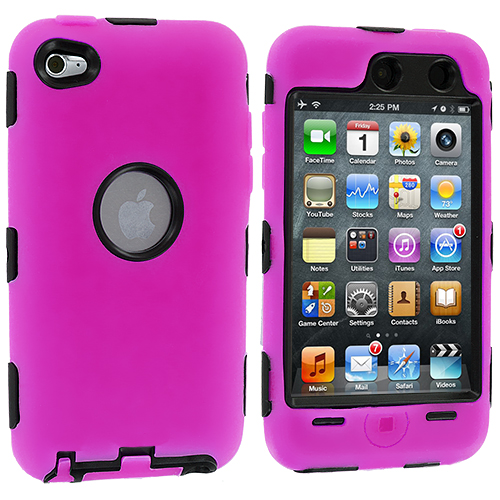 Apple iPod Touch 4th Generation Hot Pink Deluxe Hybrid Deluxe Hard/Soft Case Cover