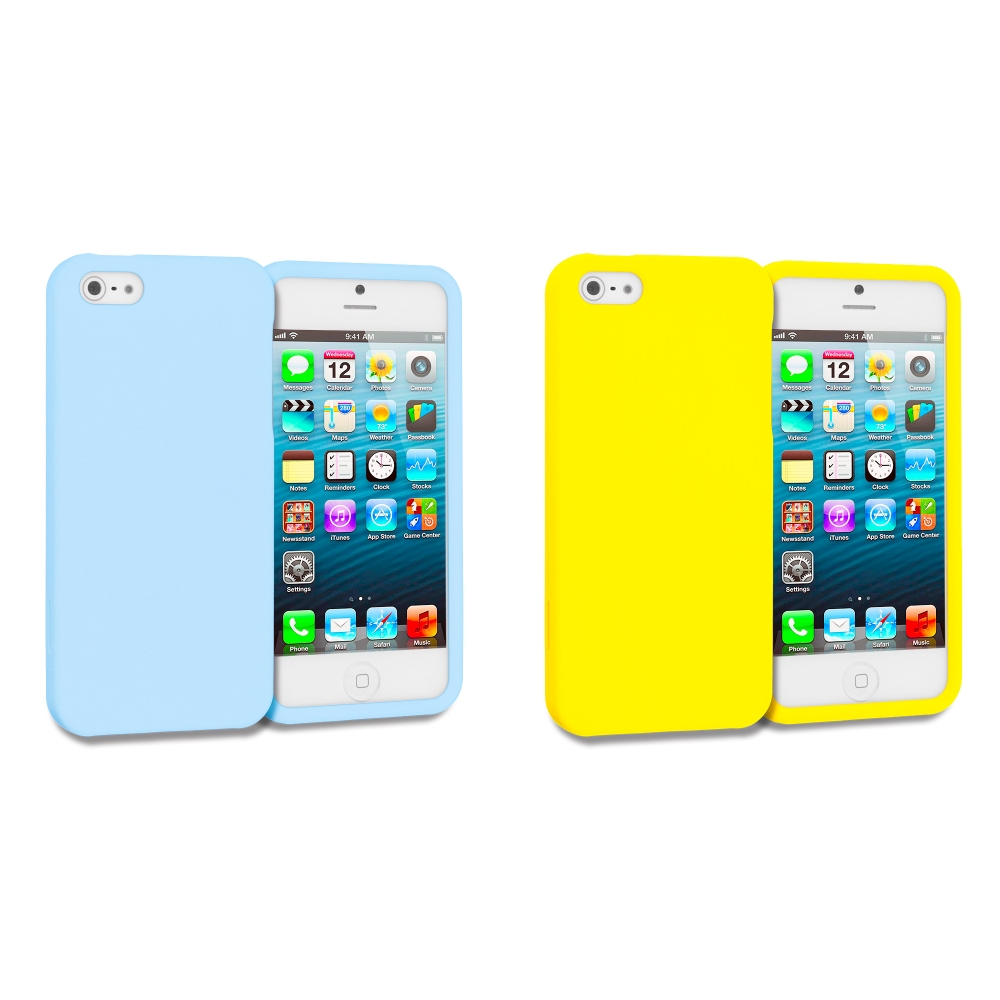 Apple iPhone 5/5S/SE Combo Pack : Baby Blue Hard Rubberized Case Cover