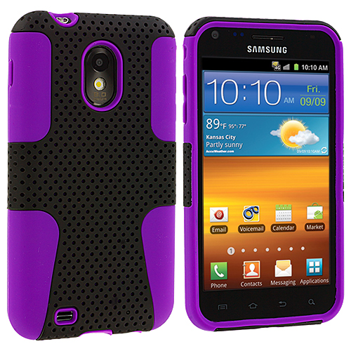 Samsung Epic Touch 4G D710 Sprint Galaxy S2 Purple / Black Hybrid Mesh Hard/Soft Case Cover