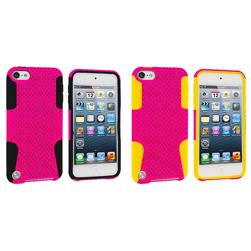Apple iPod Touch 5th 6th Generation 2 in 1 Combo Bundle Pack - Yellow / Pink Hybrid Mesh Hard/Soft Case Cover