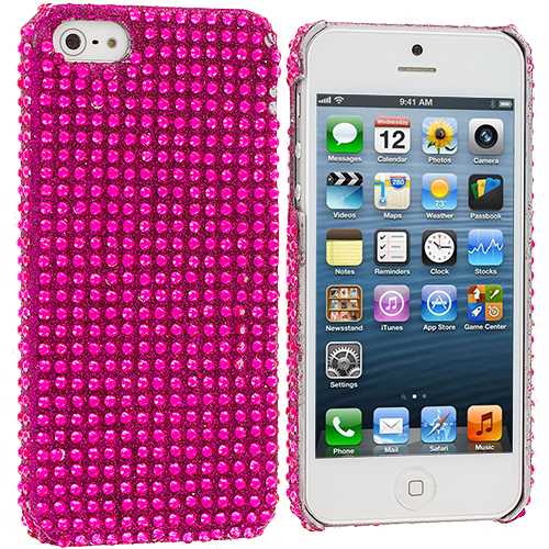 Apple iPhone 5 Hot Pink Bling Rhinestone Case Cover