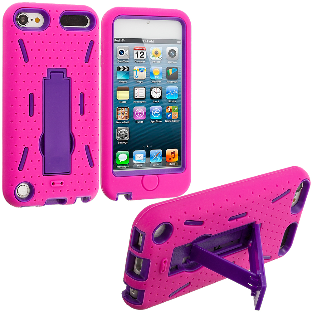 Apple iPod Touch 5th 6th Generation Hot Pink / Purple Hybrid Heavy Duty Hard/Soft Case Cover with Stand