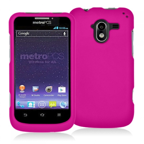 ZTE Avid 4G N9120 Hot Pink Hard Rubberized Case Cover