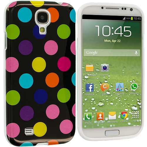 Samsung Galaxy S4 Black / Colorful TPU Polka Dot Skin Case Cover