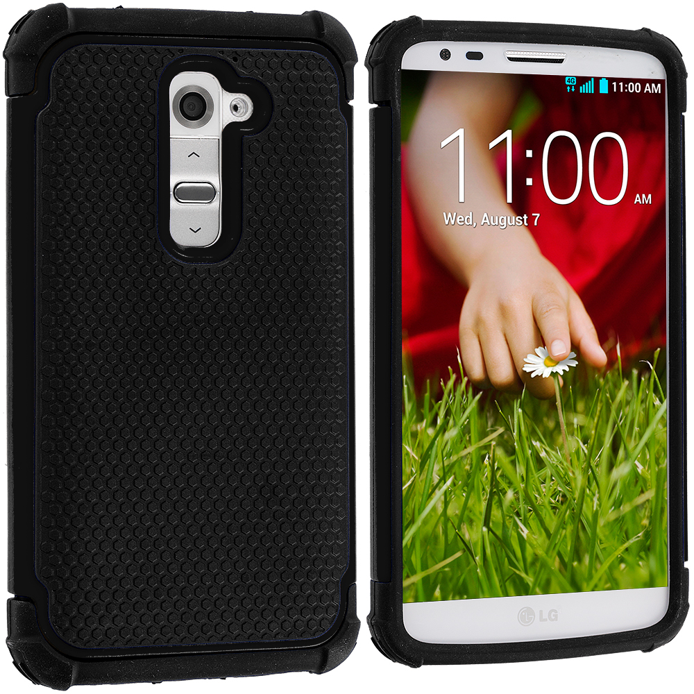 LG G2 Sprint, T-Mobile, At&t Black / Black Hybrid Rugged Hard/Soft Case Cover