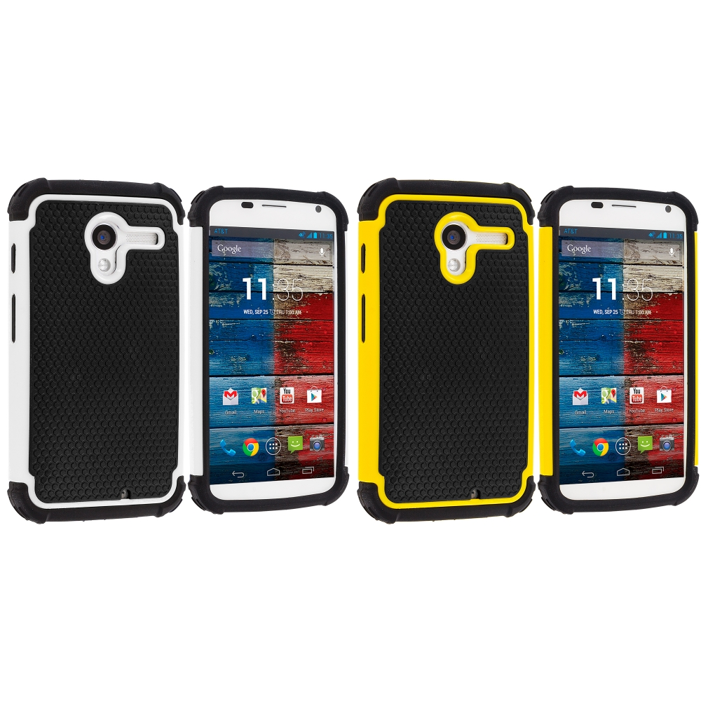Motorola Moto X 2 in 1 Combo Bundle Pack - Yellow / White Hybrid Rugged Hard/Soft Case Cover