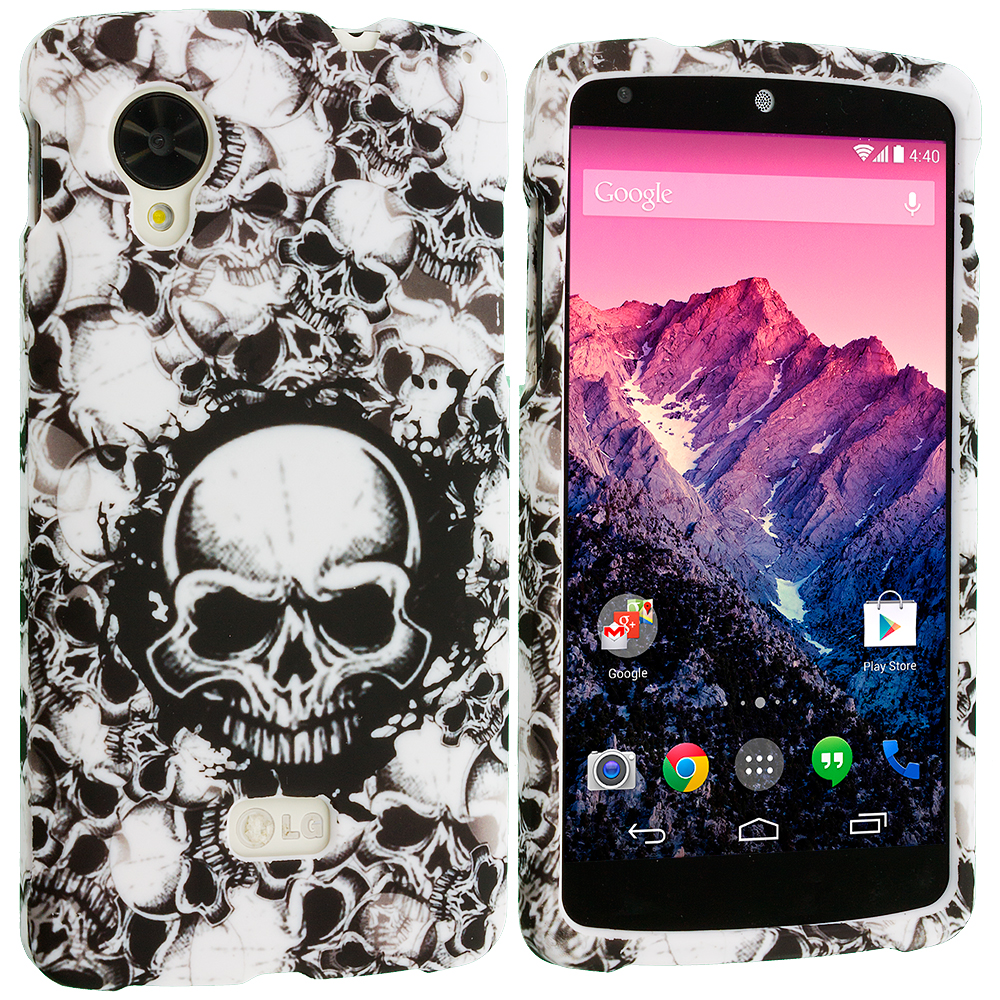 LG Google Nexus 5 Black White Skulls Hard Rubberized Design Case Cover