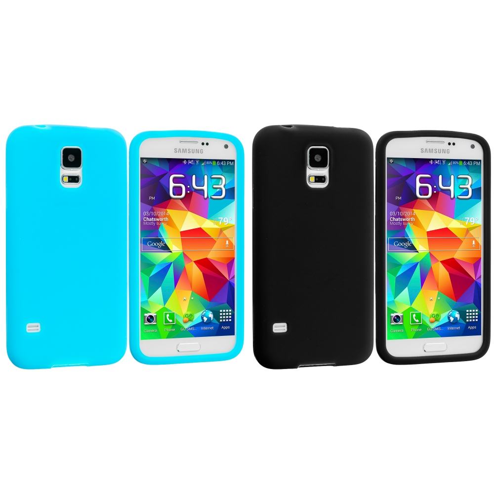 Samsung Galaxy S5 2 in 1 Combo Bundle Pack - Black Blue Silicone Soft Skin Case Cover