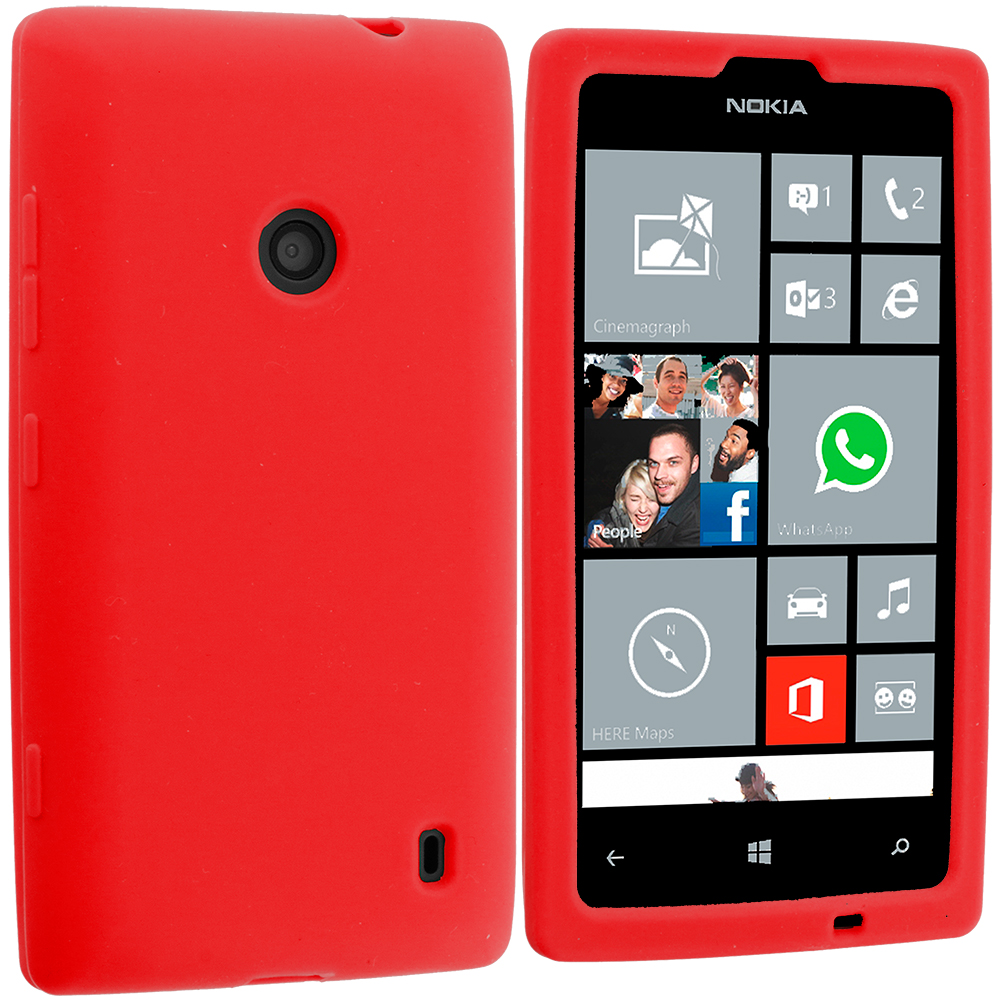 Nokia Lumia 520 Red Silicone Soft Skin Case Cover