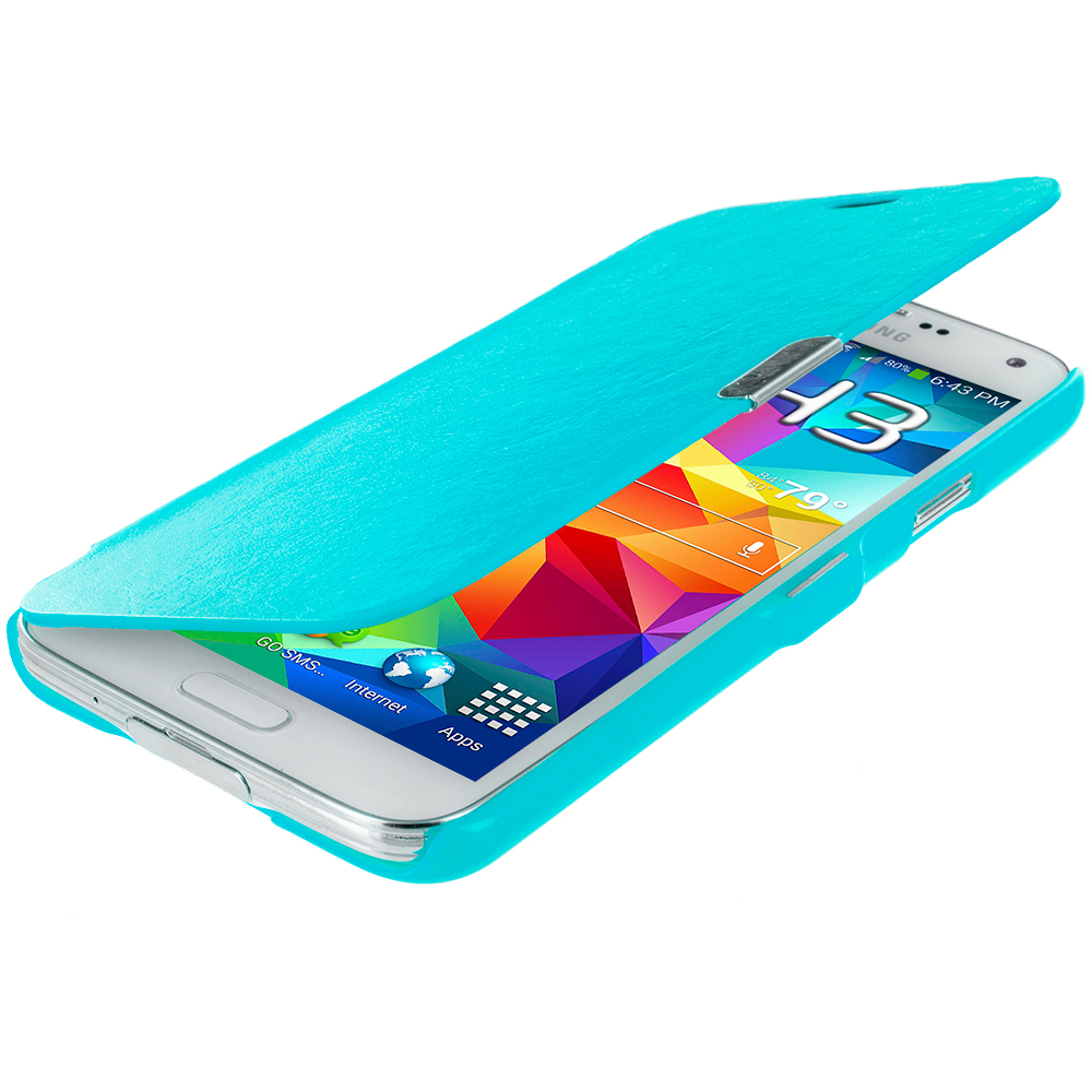 Samsung Galaxy S5 Baby Blue Magnetic Wallet Case Cover Pouch
