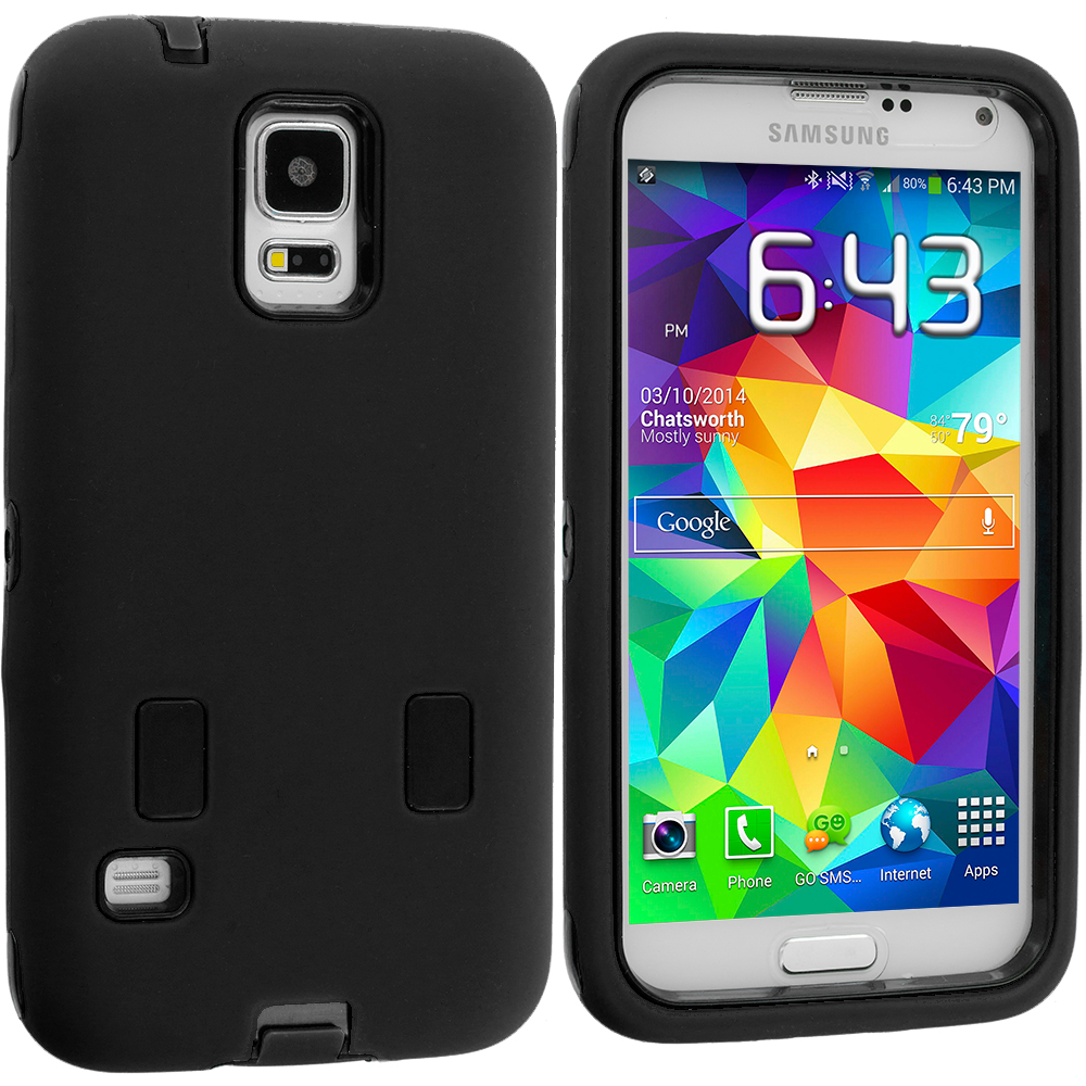 Samsung Galaxy S5 Black / Black Hybrid Deluxe Hard/Soft Case Cover