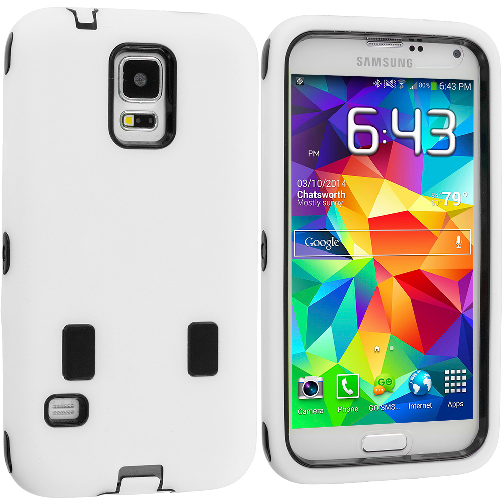Samsung Galaxy S5 White / Black Hybrid Deluxe Hard/Soft Case Cover