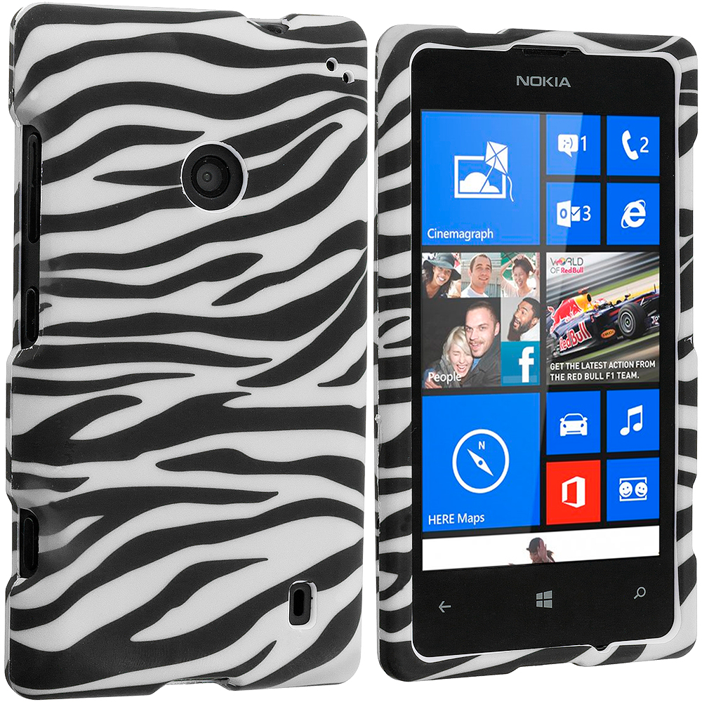 Nokia Lumia 521 Black/White Zebra Hard Rubberized Design Case Cover