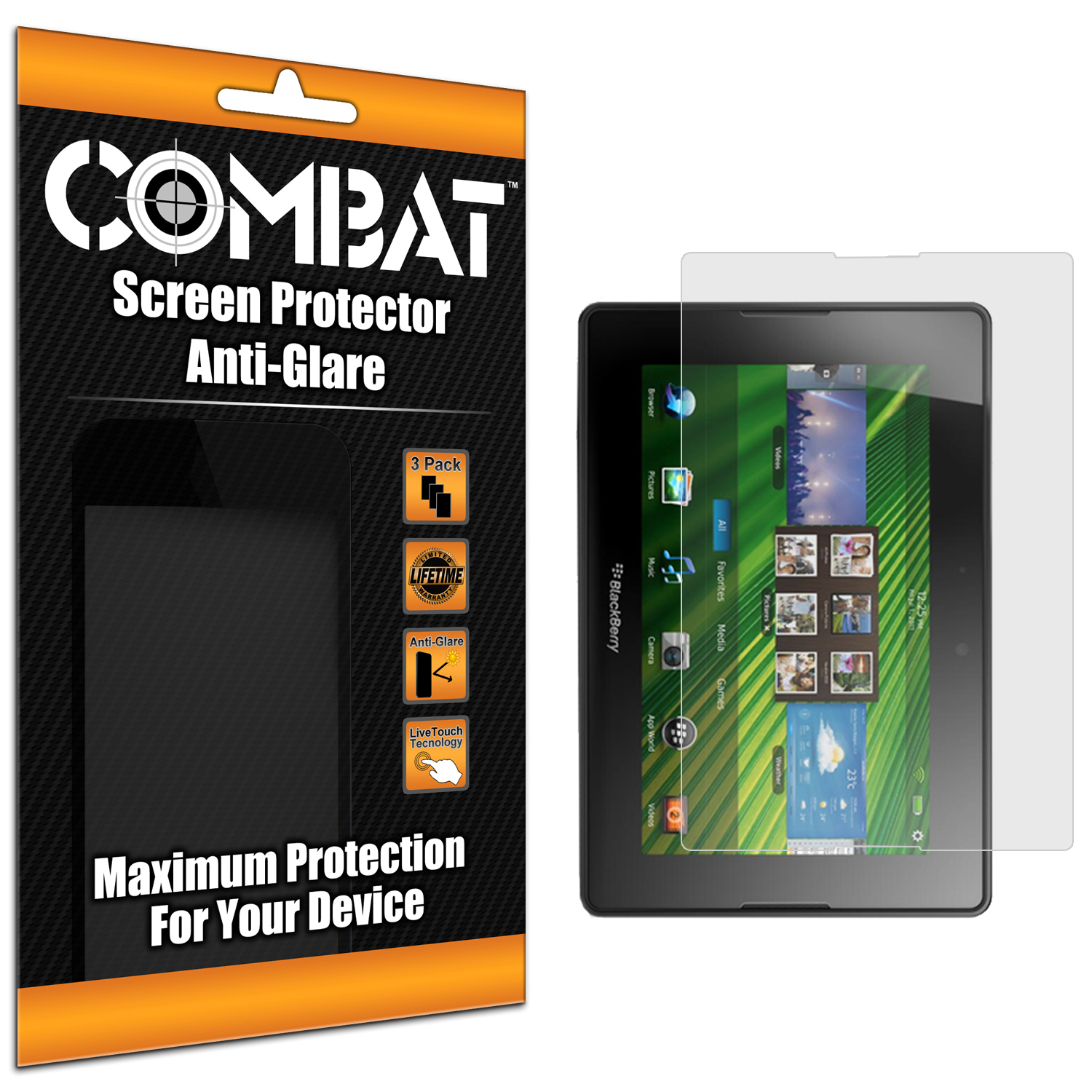 Blackberry Playbook Combat 3 Pack Anti-Glare Matte Screen Protector