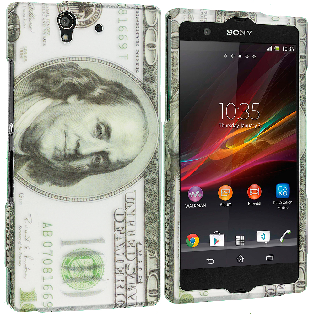 Sony Xperia Z Hundred Dollars 2D Hard Rubberized Design Case Cover