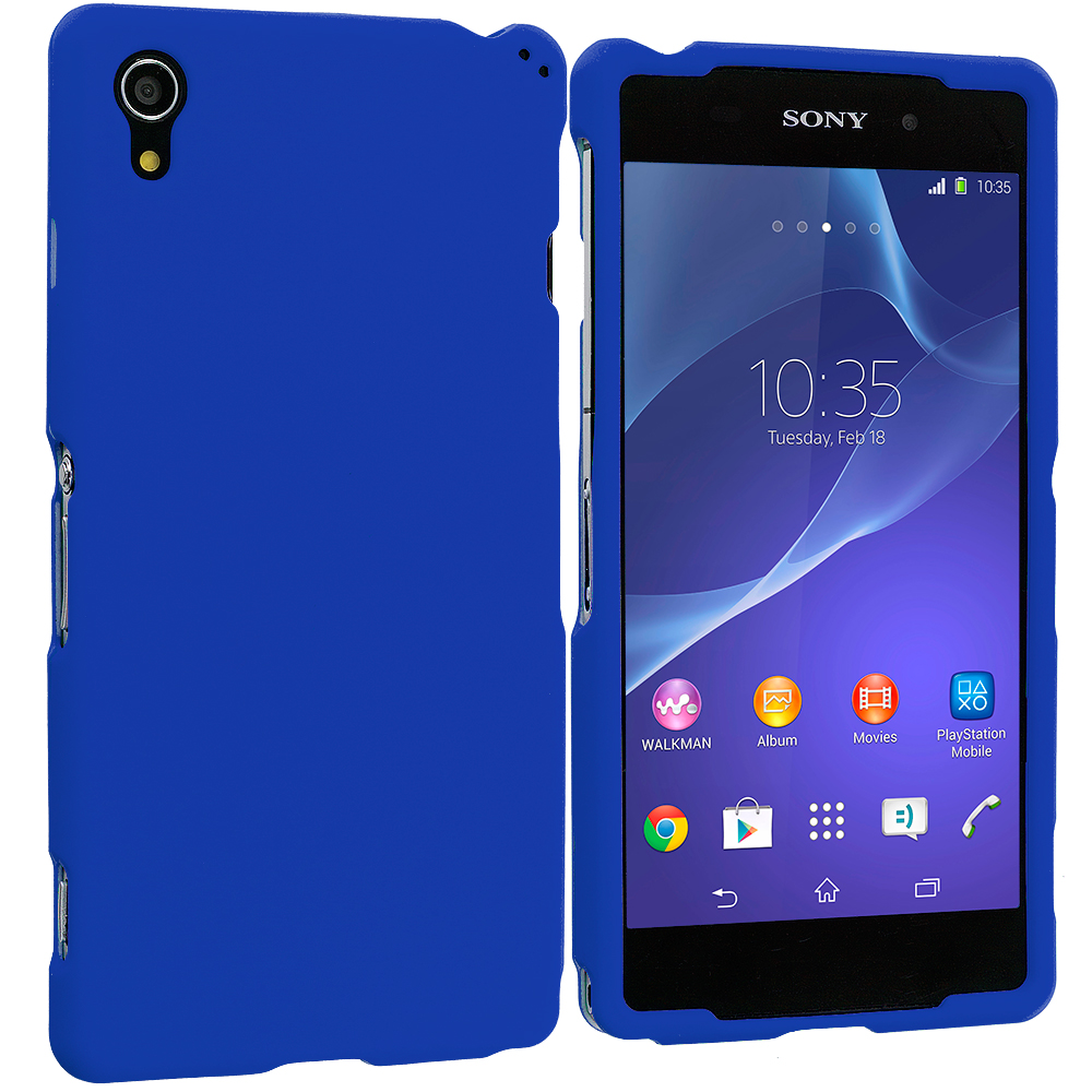 Sony Xperia Z2 Blue Hard Rubberized Case Cover