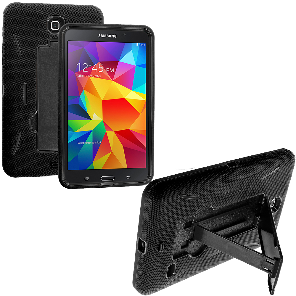 Samsung Galaxy Tab 4 7.0 Black / Black Hybrid Heavy Duty Hard/Soft Case Cover with Stand