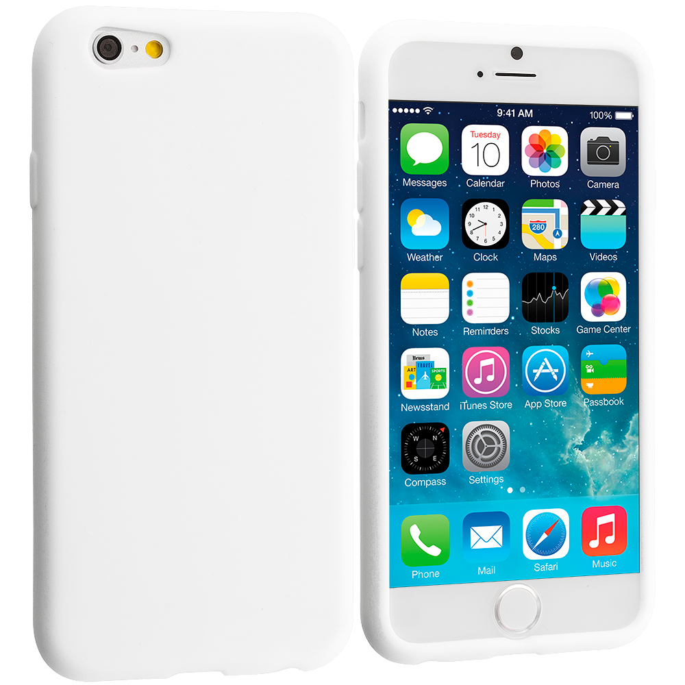 Apple iPhone 6 6S (4.7) 9 in 1 Combo Bundle Pack - Silicone Soft Skin Case Cover : Color White